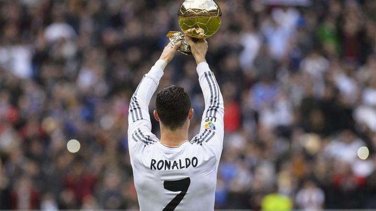Cristiano Ronaldo with the Ballon d'or