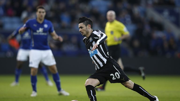 Remy Cabella advances with the ball for Newcastle