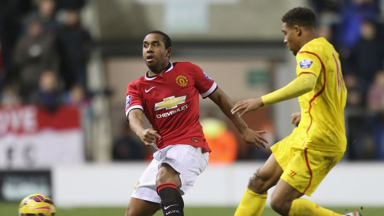 Anderson in action during the Barclays U21 Premier League match between Manchester United and Liverpool.