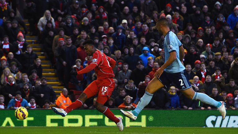 Daniel Sturridge of Liverpool scores his goal during the Barclays Premier League match between Liverpool and West Ham United
