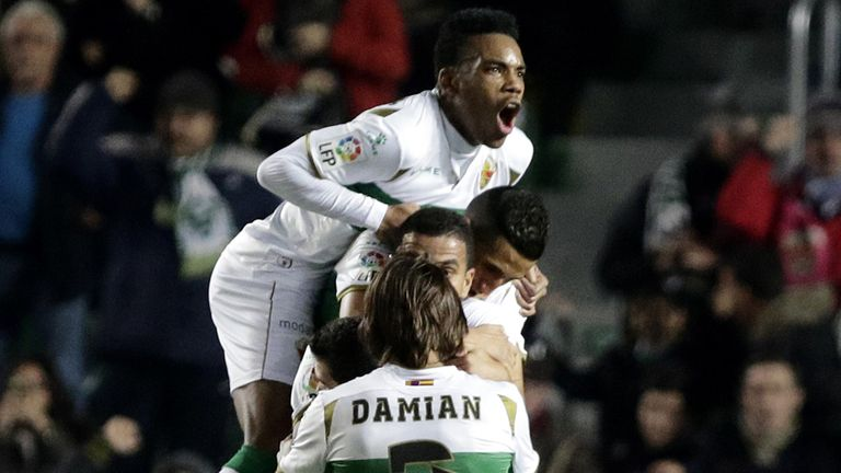 Elche platers celebrate their second goal against Villarreal