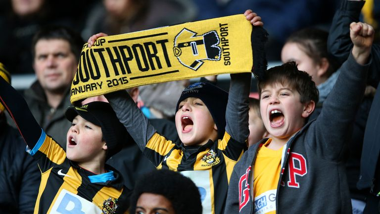 Young Southport fans show their support at the iPro stadium