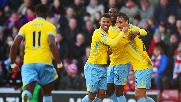 Marouane Chamakh celebrates his equaliser for Palace at Southampton