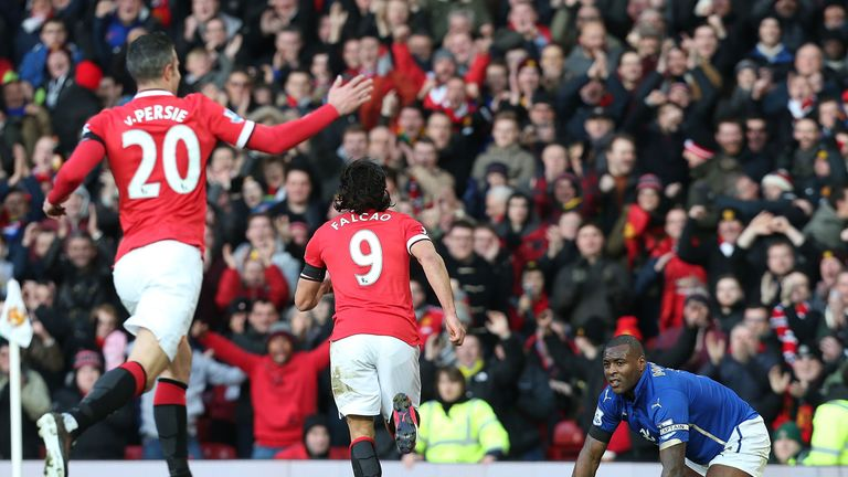 Man Utd's Radamel Falcao celebrates scoring their second goal against Leicester City