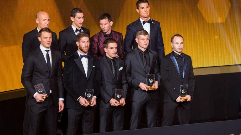 The World XI for 2014, minus Brazilian pair David Luiz and Thiago Silva