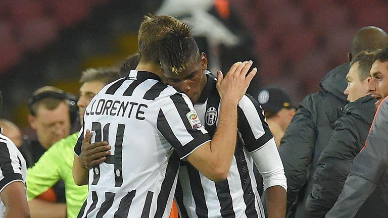 Paul Pogba of Juventus celebrates after scoring the opening goal
