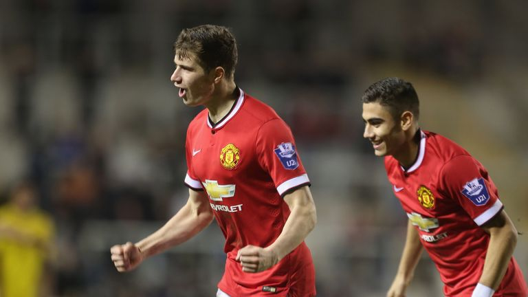 Patrick McNair U21s celebrates scoring their second goal during the Barclays U21 Premier League match between Manchester United and Liverpool.