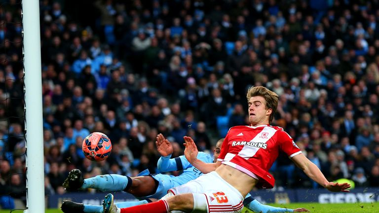Middlesbrough's Patrick Bamford slides to deflect the ball into the back of the net at but his side 1-0 up