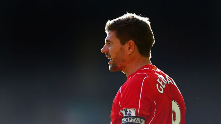 Steven Gerrard of Liverpool looks on during the Barclays Premier League match between Liverpool and West Bromwich Albion