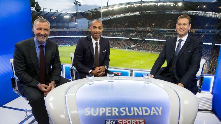 Graeme Souness, Thierry Henry, Ed Chamberlin, Sky Sports, Super Sunday, Manchester City v Arsenal, Etihad Stadium
