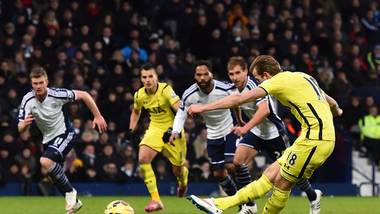 Tottenham Hotspur striker Harry Kane scores from the penalty spot for their third goal during the match between West Bromwich Albion and Tottenham Hotspur