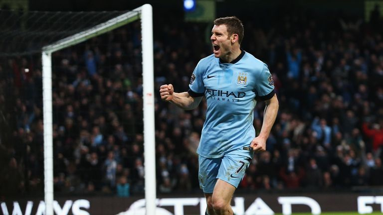 James Milner of Manchester City celebrates a