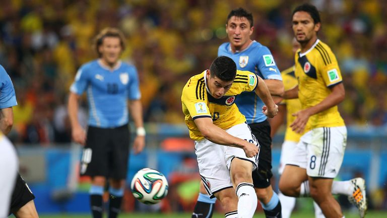 James Rodriguez scores against Uruguay during the 2014 World Cup