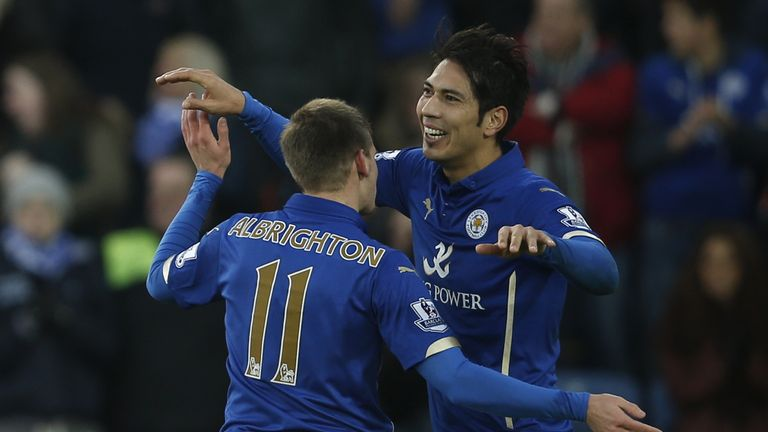 Leonardo Ulloa (right): Celebrates Leicester's winner
