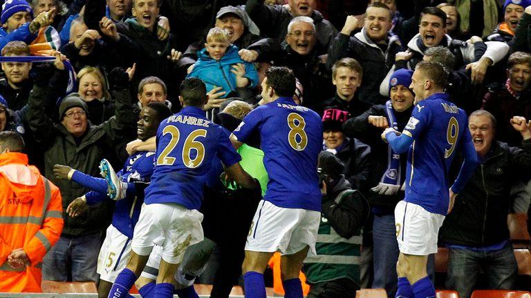 Leicester Jeffrey Schlupp celebrates scoring the equaliser at Anfield