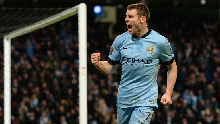 Man City's James Milner celebrates scoring his team's first goal during the English FA Cup third round football match against Sheffield Wednesday