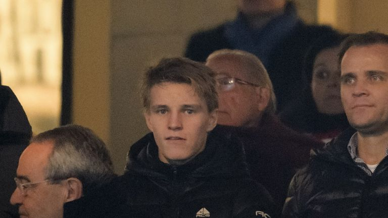 Martin Odegaard in the crowd for Atletico Madrid v Real Madrid in the Copa del Rey