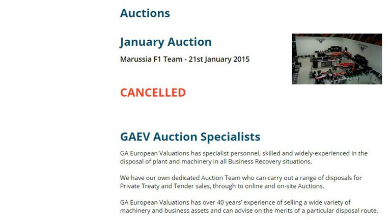 Marussia auction cancelled