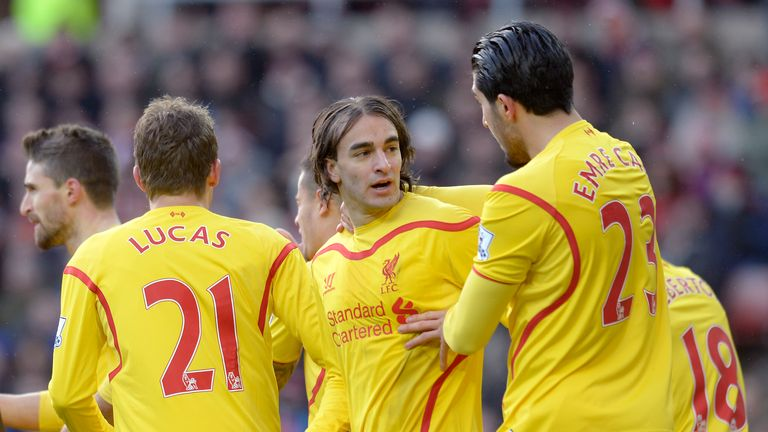 Lazar Markovic is congratulated after scoring Liverpool's opening goal at the Stadium of Light