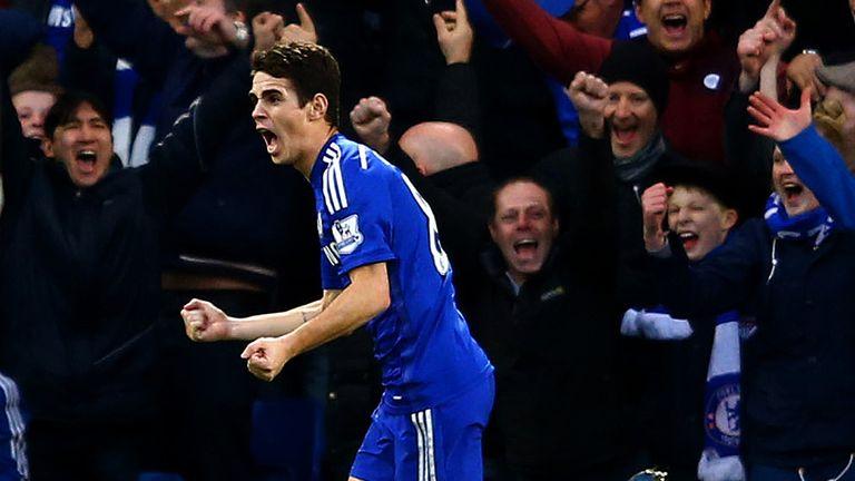 Oscar of Chelsea celebrates after scoring the opening goa against Newecastle