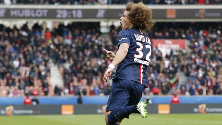 Paris Saint-Germain's Brazilian defender David Luiz celebrates after scoring