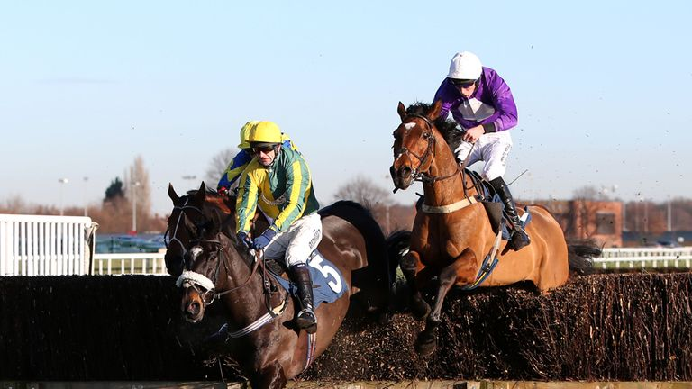Robbie ridden by James Reveley (right) wins The bet365 Handicap Steeple Chase at Doncaster Racecourse, Doncaster.