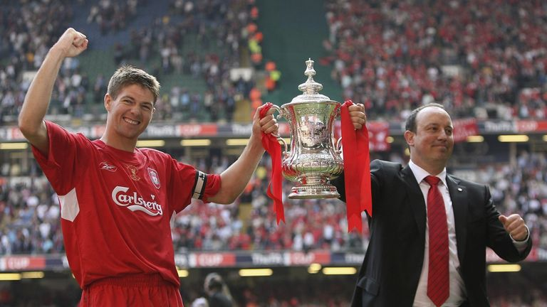 Liverpool captain Steven Gerrard with manager Rafael Benitez with the FA Cup after the FA Cup Final win over West Ham in May 2006