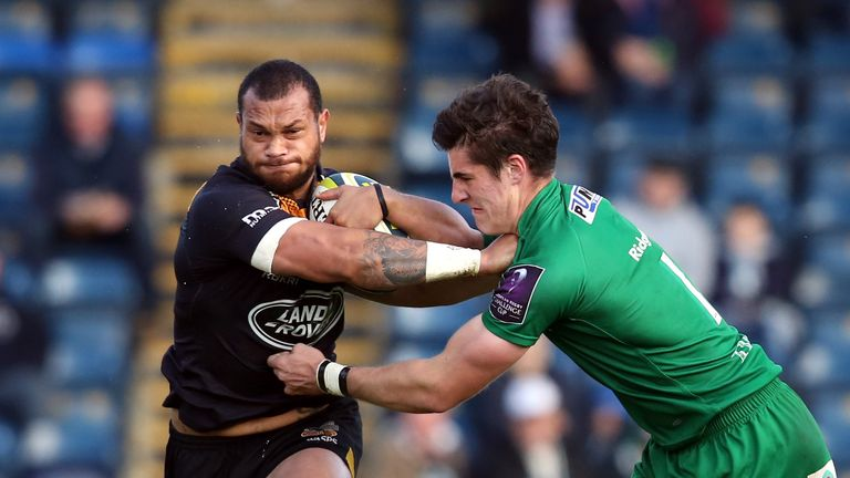 Will Helu (left): In action for Wasps in November
