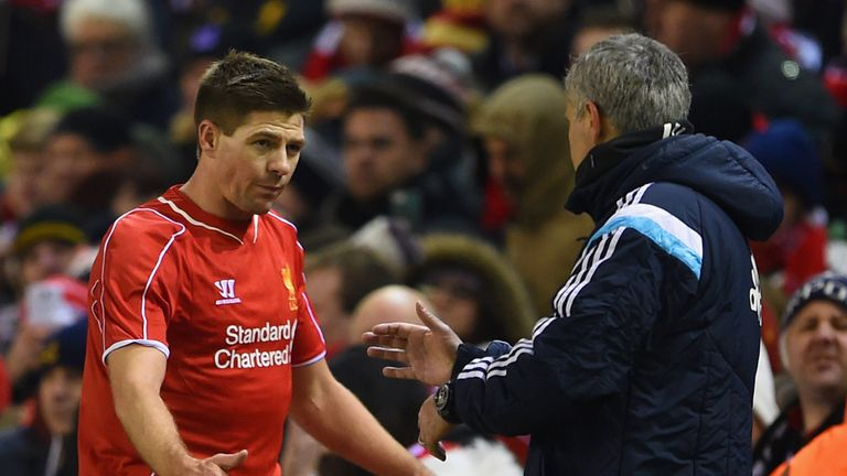 LIVERPOOL, ENGLAND - JANUARY 20:  Steven Gerrard of Liverpool shakes hands with Jose Mourinho manager of Chelsea as he is substitued during the Capital One