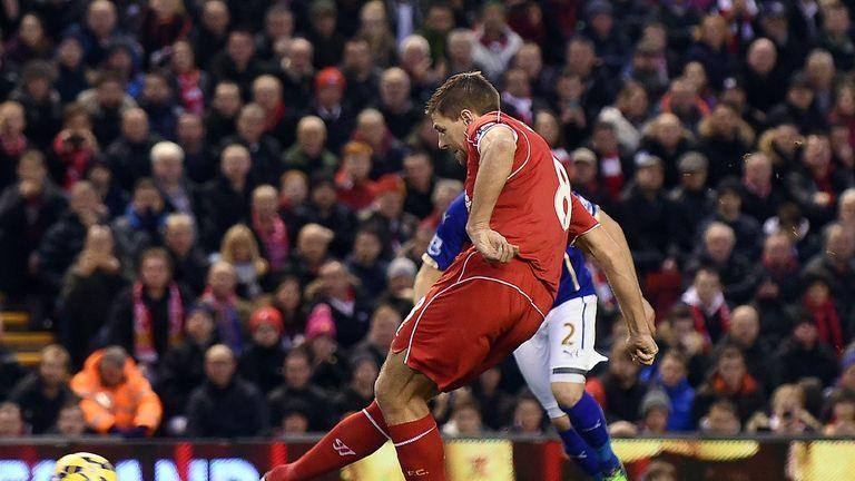 Liverpool's Steven Gerrard scores from the penalty spot