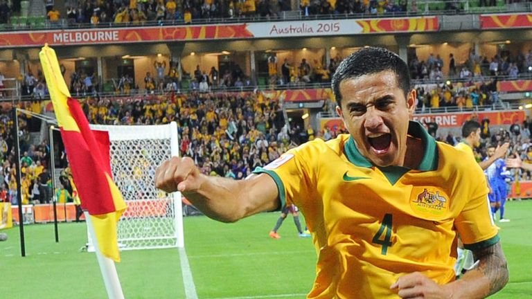 Tim Cahill of Australia celebrates