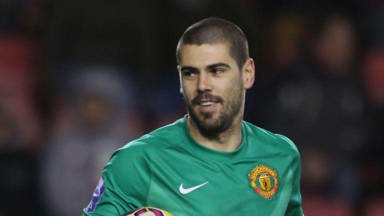 Victor Valdes of Manchester United U21s v Liverpool U21s