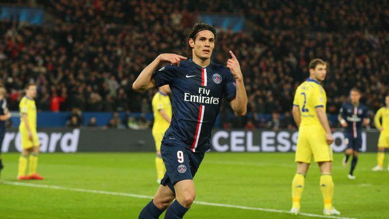 Edinson Cavani celebrates after scoring against Chelsea in the Champions League