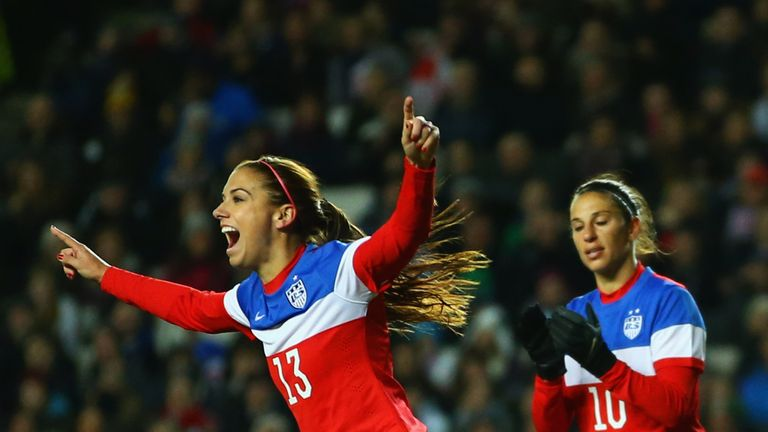 Alex Morgan celebrates her goal