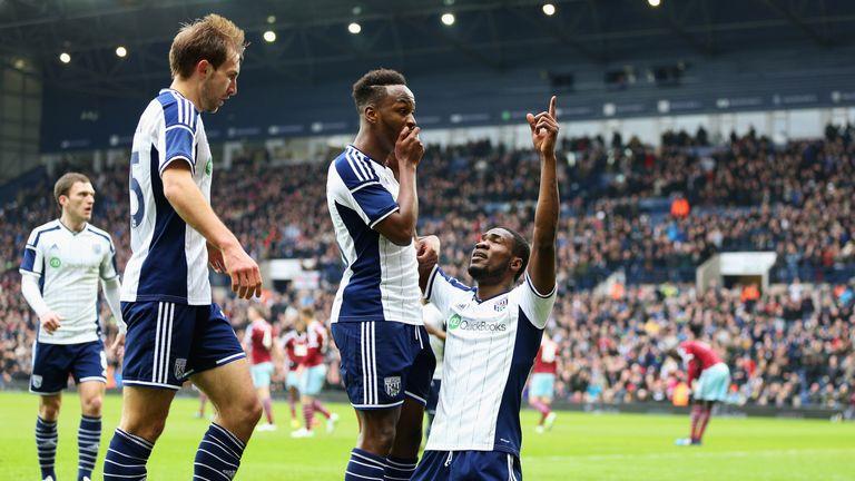 Brown Ideye (R) celebrates the opening goal