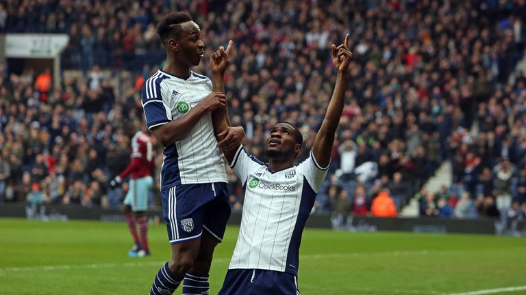 West Bromwich Albion's Nigerian striker Brown Ideye celebrates scoring the opening goal against West Ham