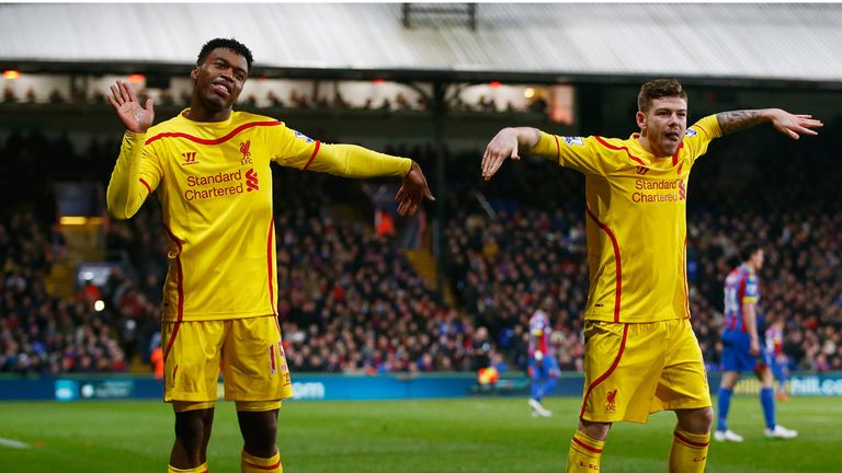 Liverpool's Daniel Sturridge celebrates with Alberto Moreno after scoring against Crystal Palace in the FA Cup fifth round