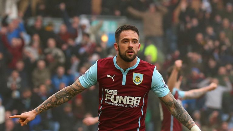 Danny Ings of Burnley celebrates scoring their second goal against West Brom