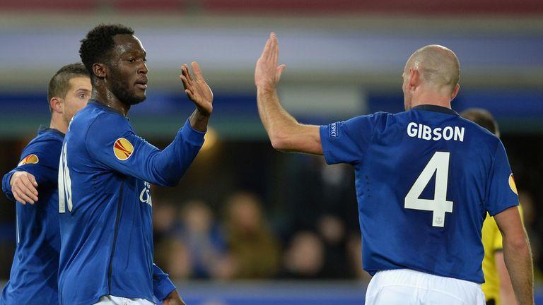 Darron Gibson and Romelu Lukaku celebrate