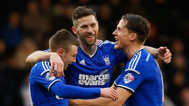 Ipswich's Daryl Murphy (c) celebrates one of his goals with team-mates Freddie Sears (l) and Christophe Berra (r)