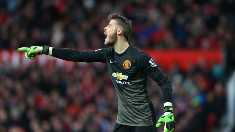 Goalkeeper David De Gea of Manchester United directs his defence during the Barclays Premier League match v Leicester