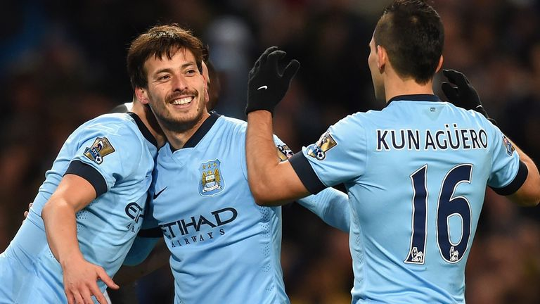 David Silva celebrates after scoring Manchester City's fourth goal against Newcastle