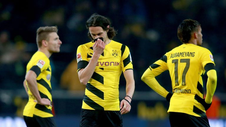 Ciro Immobile, Neven Subotic and Pierre-Emerick Aubameyang after a loss to Augsburg