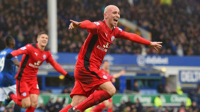 Esteban Cambiasso of Leicester celebrates after scoring against Everton at Goodison Park