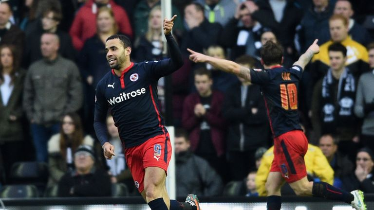 Hal Robson-Kanu celebrates as he scores Reading's first goal against Derby