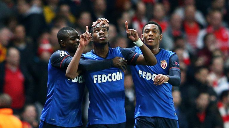 LONDON, ENGLAND - FEBRUARY 25:  Geoffrey  Kondogbia #22 (C) of Monaco celebates with teammates after scoring the opening goal during the UEFA Champions Lea