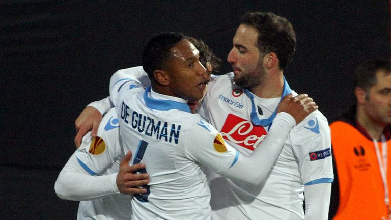 Gonzalo Higuain celebrates with his Napoli team-mates