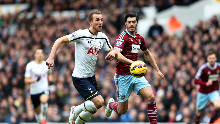 Harry Kane is pursued by James Tomkins