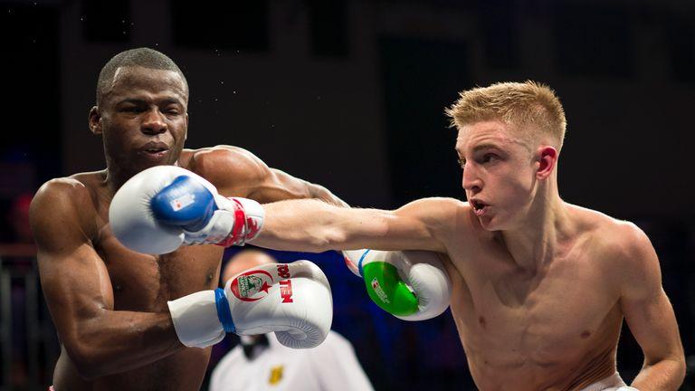 Jack Bateson (R) of British Lionhearts during his fight against Abdelhakaim El Bakra of Algeria Desert Hawks during the World Series of Boxing