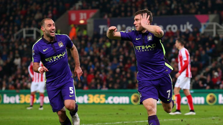 James Milner of Manchester City celebrates with team-mate Pablo Zabaleta